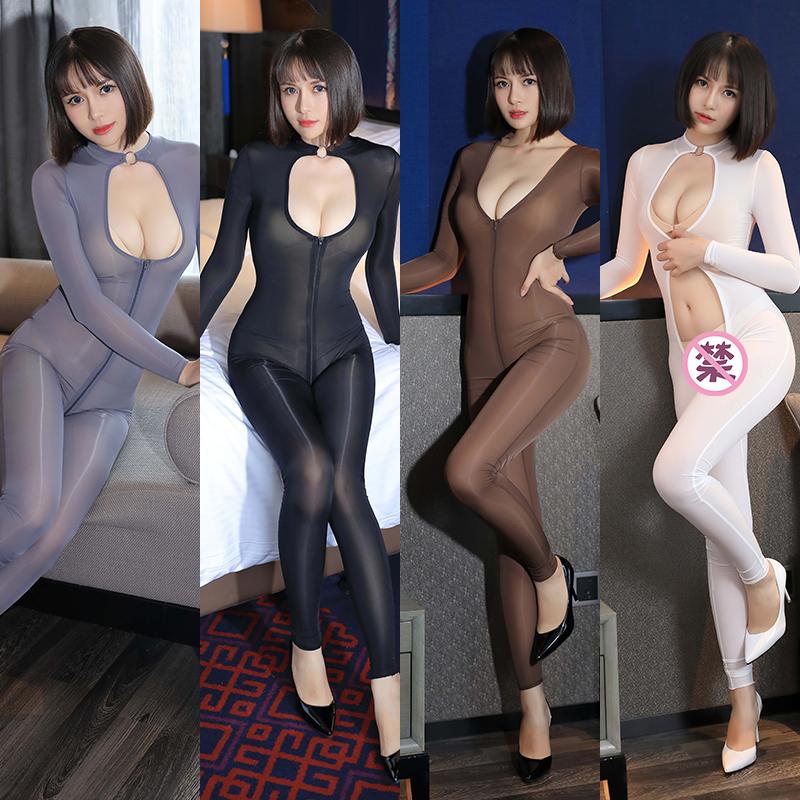 情趣冰丝大码亮光拉链连体衣油亮内衣性感连身丝滑超薄透视紧身衣