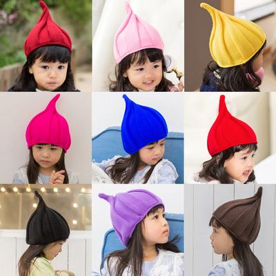 韩版女童秋冬帽子男童保暖毛线奶嘴帽儿童尖尖帽婴儿宝宝西瓜帽潮