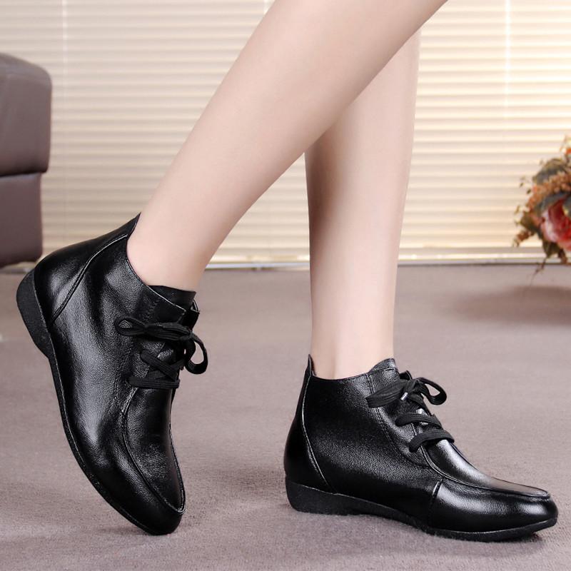 真皮女士中高帮皮鞋短靴春秋单鞋女鞋系鞋带平底中年妈妈鞋镂空鞋
