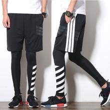 篮球运动丝袜男女款 紧身打底裤 欧美原宿风数字印花两杠薄款