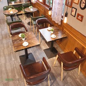 奶茶店甜品店桌椅组合 咖啡厅快餐店餐桌椅 复古工业风主题餐桌椅