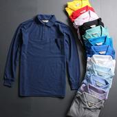 珠地棉翻领T恤 男装 打底衫 有口袋 商务宽松休闲polo衫 透气长袖