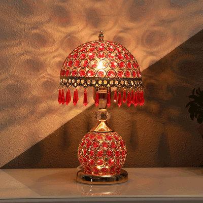 水晶台灯卧室床头灯 欧式 奢华婚庆台灯红色创意结婚创意温馨浪漫