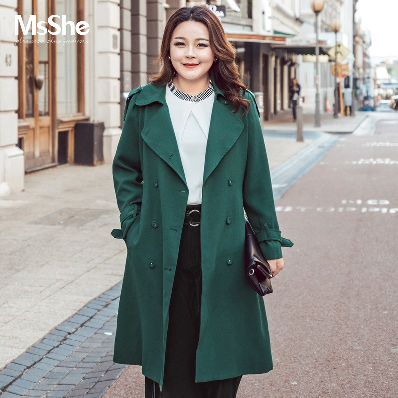 【不参加双十一】MsShe大码外套女胖mm秋腰带双排扣风衣M1730058