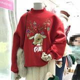 韩国东大门秋冬新款抓绒圣诞小鹿上衣刺绣加绒加厚套头ins卫衣女