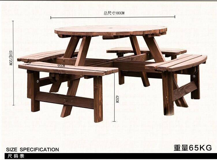 纯实木桌椅多人套装阳台休闲户外园林家具创意烧烤茶乘凉庭院桌凳