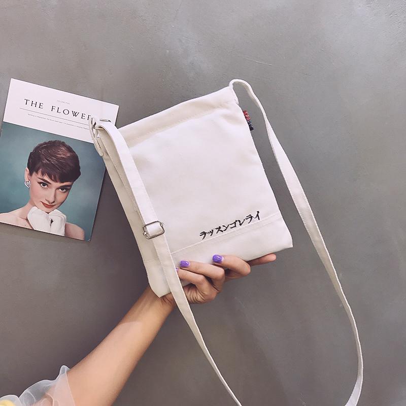 帆布手机包包女2019新款单肩百搭布艺零钱包迷你小布包斜挎小包袋
