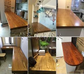 老榆木实木板吧台飘窗定制田园风化板学习桌写字台窗台板 桌面板