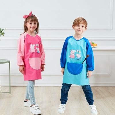 儿童反穿衣长袖防水男吃饭衣中大童罩衣画画围裙小孩女绘画防污衣