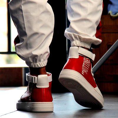 红色男士高帮鞋韩版潮流2018新款男街舞鞋高腰嘻哈鞋子男百搭男鞋