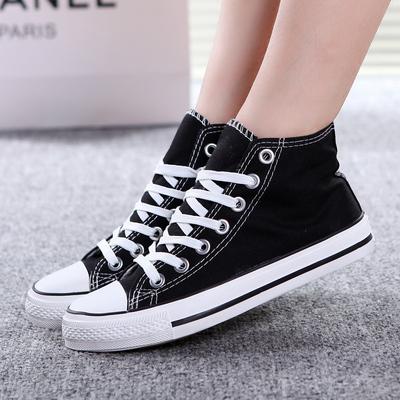春季新款帆布鞋英伦高帮休闲鞋青少年单鞋潮男生韩版黑色布鞋高邦