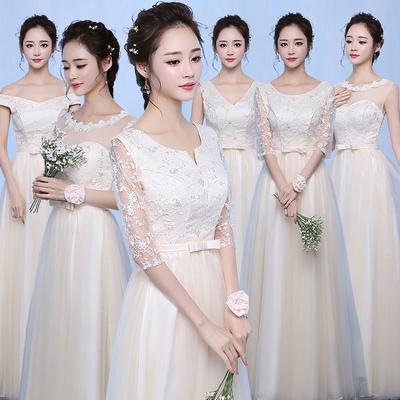 伴娘礼服女2018新款韩版香槟色年会毕业晚礼服长款姐妹团显瘦婚礼
