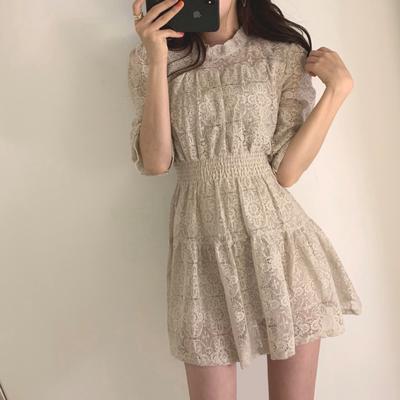 韩国ins炒鸡火复古chic优雅蕾丝短袖收腰公主礼服短袖连衣裙夏季