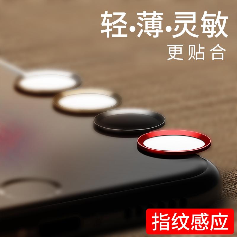 蘋果指紋按鍵貼 iphone8p防手汗7plus手機解鎖5s識別6s網紅home感應膜ipad男女五4s六卡通圓形貼紙