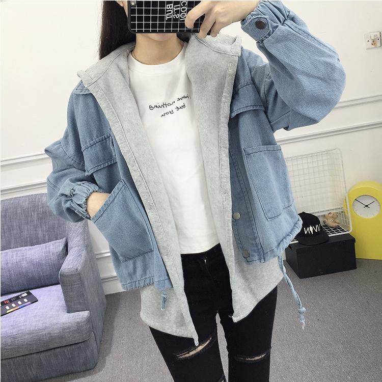 2018春装新款韩版BF宽松学生牛仔衣连帽卫衣马甲两件套牛仔外套女