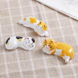 陶瓷日式筷托筷架餐具日用品猫咪筷子架创意大黄猫3只装包邮图片