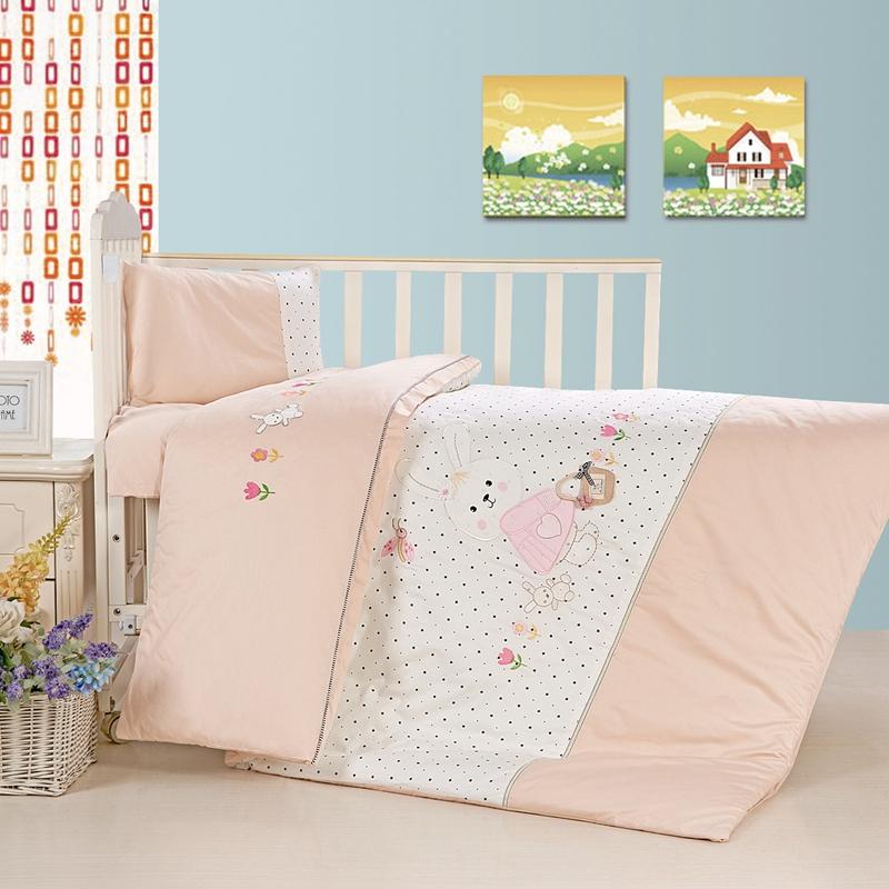 新品全棉贡缎幼儿园被子三件套含被芯 宝宝纯棉花子母被子七件套