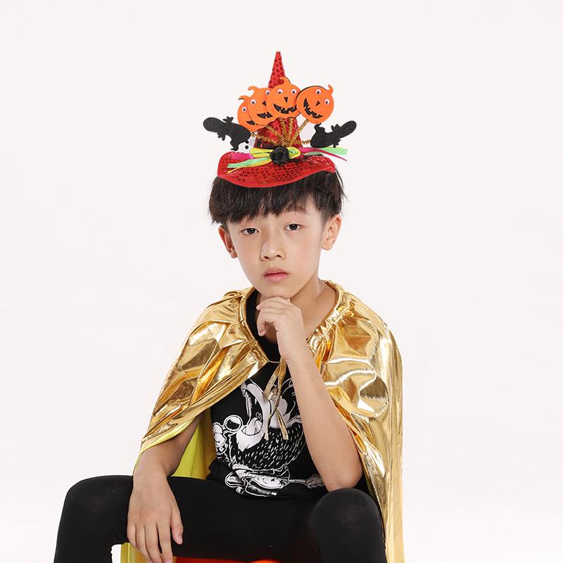 万圣节发箍头饰装饰用品儿童南瓜帽发饰巫师帽魔法帽蝙蝠幽灵头箍