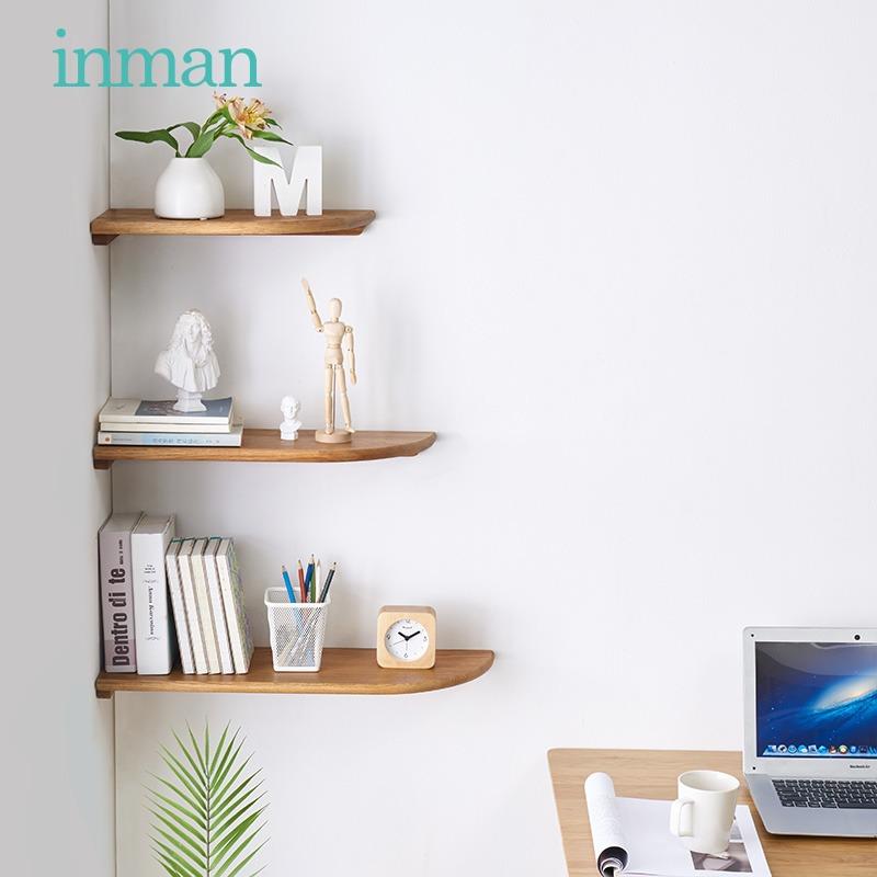 茵曼实木墙角置物架墙角储物花架现代客厅转角扇形置物架墙面隔板