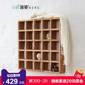 茵曼home 简约环保墙上实木橡木领带丝巾收纳格 25格置物架杯子架