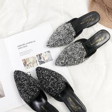 半拖鞋 韩版 尖头单鞋 一字拖包头拖鞋 平底粗跟女鞋 2018亮片穆勒鞋