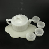 Natural Afghan Jade Stone Tea Cup Kung Fu Tea Set White Fat Yuhan White Jade Teapot Tea Cup Set Decoration