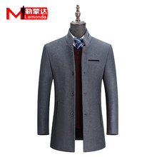 Fall and Winter Men's Business Leisure Middle-aged Wool Fabric Overcoat Jacket Men's Collar Windshield Dad's Top