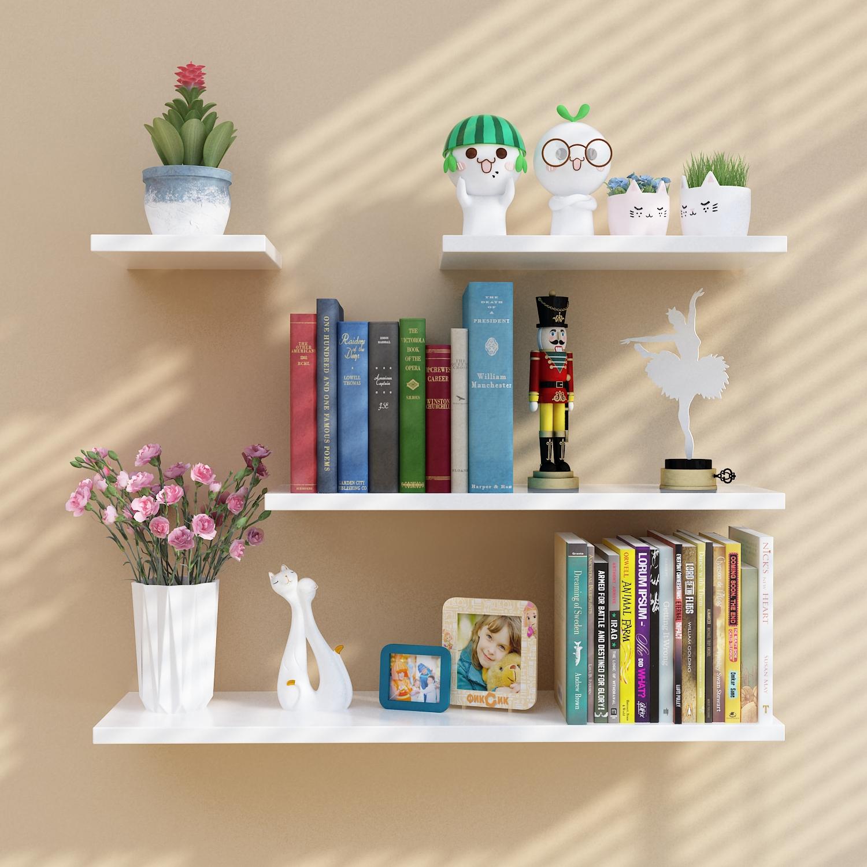 包邮墙上一字搁板客厅饰品架墙上置物架书架卧室壁挂隔板储物层板