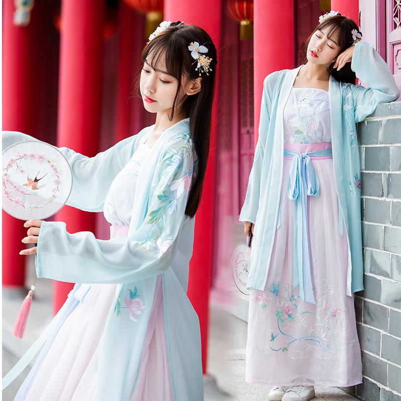 古风长褙子吊带襦裙传统日常汉服芙蓉刺绣花中国风cospaly表演服