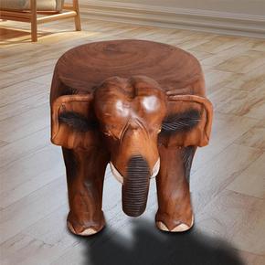 泰国招财穿鞋凳 创意原木矮凳实木小凳子大象换鞋凳小圆凳木墩子