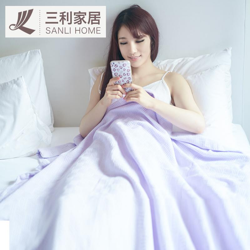 三利纯棉毛巾被 毛毯单人双人办公室盖毯午睡毯春季空调毯子特价