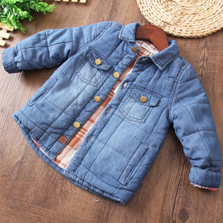 儿童全棉牛仔棉服大童开衫加厚外套冬款保暖上衣棉衣柔软舒适纯色