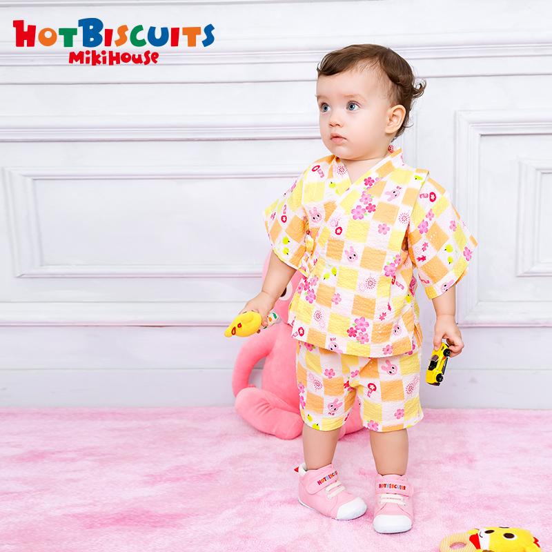 MIKIHOUSE HOT BISCUITS  女童可爱印花卡通夏季日式浴衣套装集货
