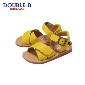 Mikihouse Double_B女童复古时尚小黑熊刺绣凉鞋夏季新款
