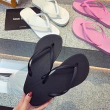 外穿时尚情侣人字拖女男夏季夹脚防滑平底跟浴室沙滩鞋黑色凉拖鞋