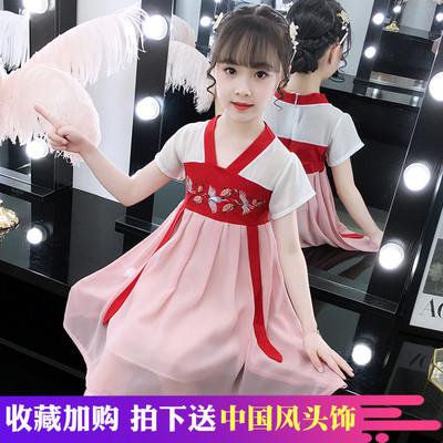 女童连衣裙夏装新款儿童小女孩抖音襦裙子夏季超仙中国风汉服洋气