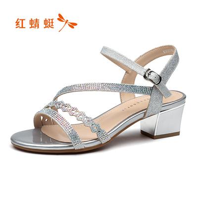 红蜻蜓女鞋2018夏季新品时尚甜美女凉鞋百搭粗跟一字扣凉鞋女鞋夏