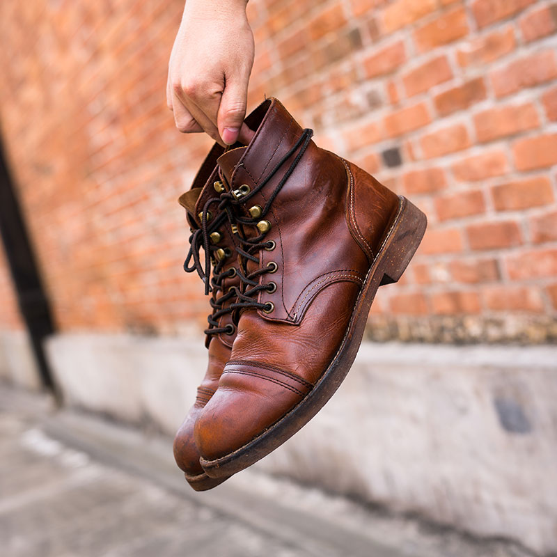 复古red8111伞兵靴短靴真皮机车靴高帮女靴wing马丁靴工装靴男鞋