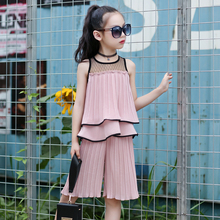 Girl Chiffon Summer Suit 2019 New Kids and Children Summer Fashion Sleeveless Two-piece Suit Korean Edition