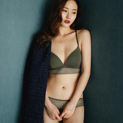 法式舒适无钢圈薄棉透气女士美背内衣性感蕾丝边侧收无痕文胸套装