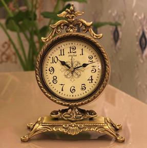 欧式纯铜时尚静音座钟现代客厅摆件时尚创意台钟卧室黄铜石英钟表