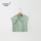 男女童素色衬衫 夏季儿童中式改良立领短袖 上衣棉麻T恤文艺范童装图片