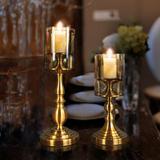 欧式古铜色玻璃浪漫餐桌蜡烛烛台酒店会所样间房摆件奢华装饰品