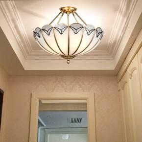 欧式全铜吸顶灯美式卧室客厅灯半吊灯过道阳台进门入户门厅玄关灯