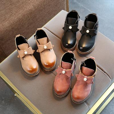 2017新款韩版女童靴子儿童鞋秋冬蝴蝶结公主低筒马丁靴小学生单靴