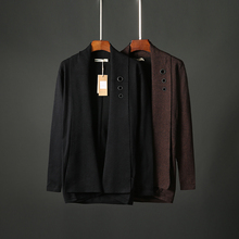 Autumn men's pure color knitted cardigan, Lapel jacket, men's self-cultivation Korean version wearing medium and Long-style cloak sweater 6808