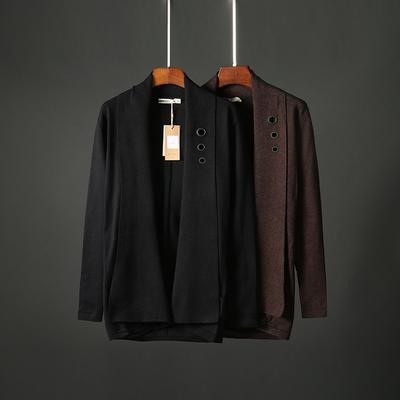 秋季男士纯色针织开衫翻领外套男修身韩版外穿中长款披风毛衣6808