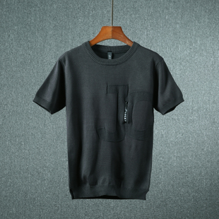 2018夏季薄款針織短袖T恤簡約純色男上衣青年圓領套頭男裝潮8835