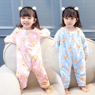 儿童连体睡衣秋冬加厚珊瑚绒1宝宝防踢被睡袋3岁卡通女童法兰绒潮