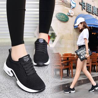 回力女鞋透气运动鞋女秋季皮面休闲鞋轻便气垫跑步鞋帆布鞋子黑色